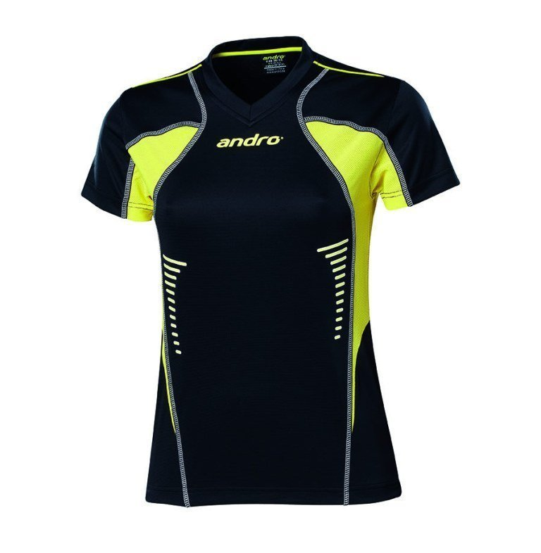 andro Polo Lasca Women Blk/Yellow 100% Polyester IndoorDRY