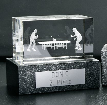 Donic 3D Crystal Glass Block 50 x 50 x 80mm in 3cm Base