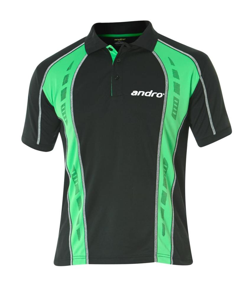 andro Polo Mago blk/green 100% Polyester IndoorDRY
