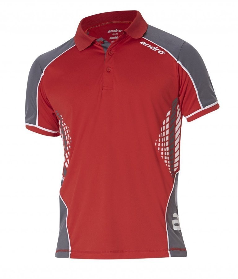 andro-Shirt Luva red/white/grey 100% Polyester IndoorDRY