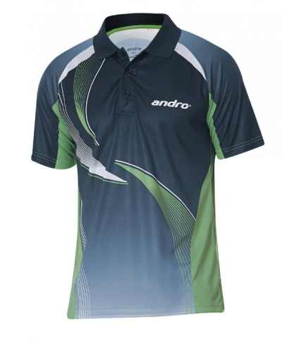 andro-Shirt Kaitos nightblue/green 100% Polyester IndoorDRY