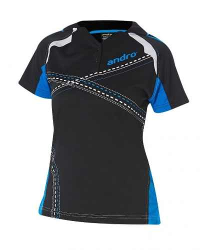 andro Polo Arakis Women Blk/Blue 100% Polyester IndoorDRY