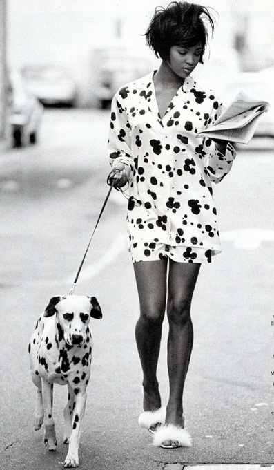 Fashionable Naomi Campbell And Her Dalmatian