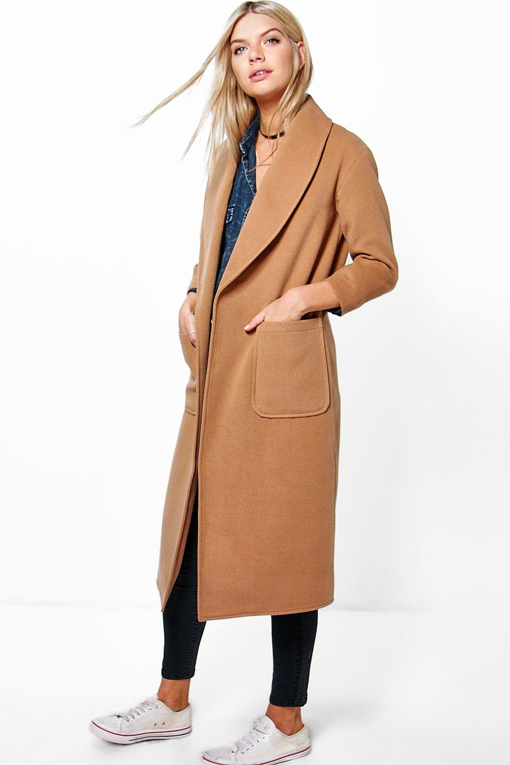 Emilia Shawl Collar Robe Duster Coat From Boohoo