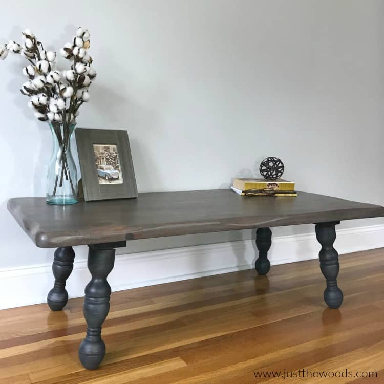 to refinish a rustic wood coffee table