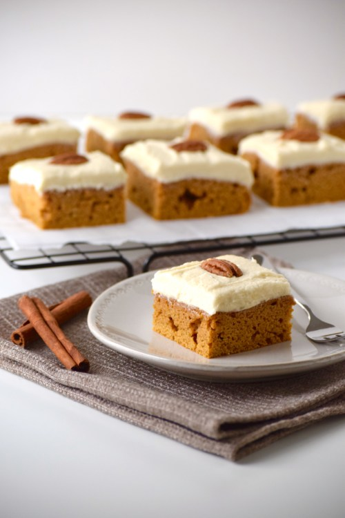 Moist, delicious, allergy-friendly--these healthier pumpkin bars do it all! Top with cream cheese frosting for a decadent dessert that everyone will love.
