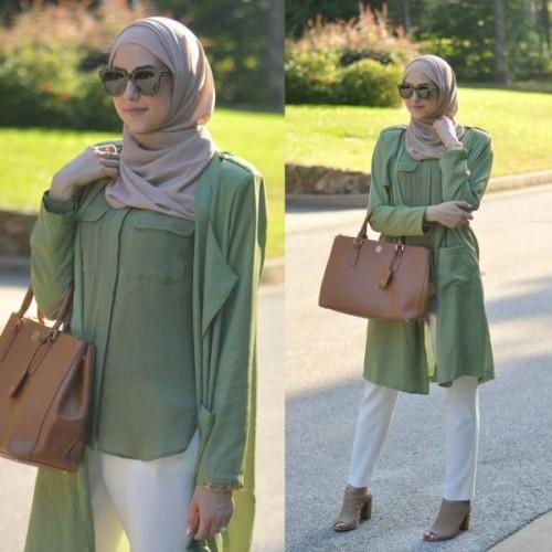 green maxi hijab tunic
