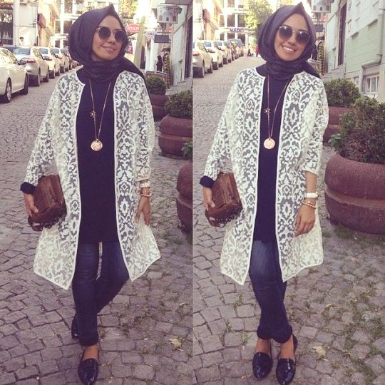 Image result for lace kimono outfit hijab