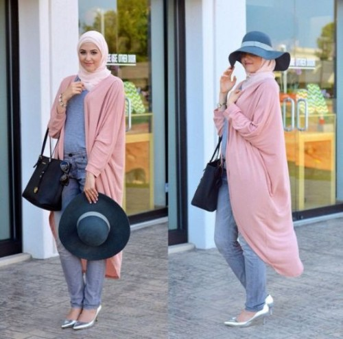 maxi cardigan hijab look