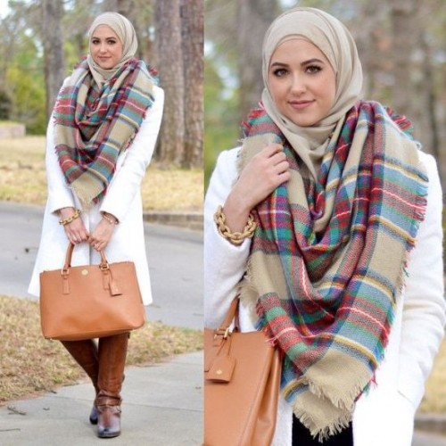 plaid checked scaf outfit