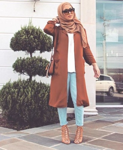 tan hijab coat outfit
