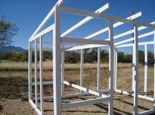 Building the framework for the hen house.