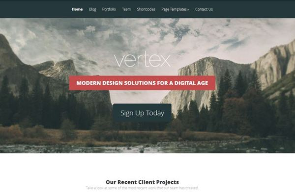 Vertex Full Screen WordPress Theme