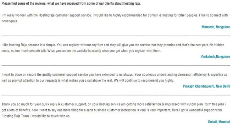 Hosting Raja Customer Reviews
