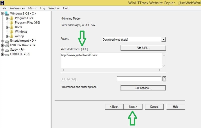 Download a website using httrack