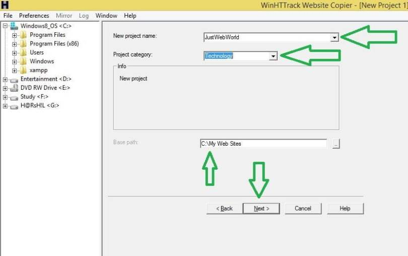 httrack website copier how to use