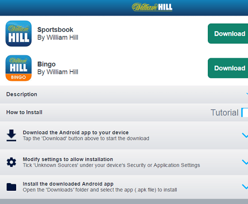 Visit this page to see all William Hill apps available for your current device!