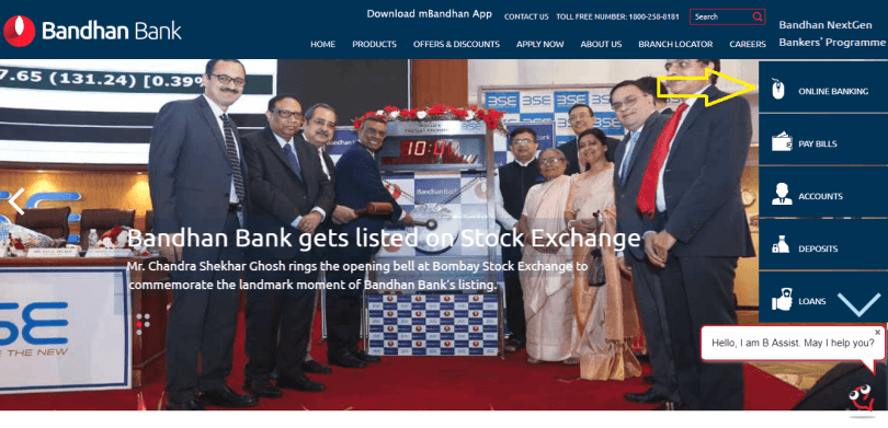 Bandhan Bank Internet Banking Website