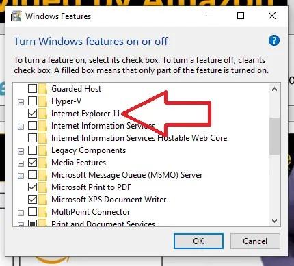 Uninstalling Internet Explorer 11