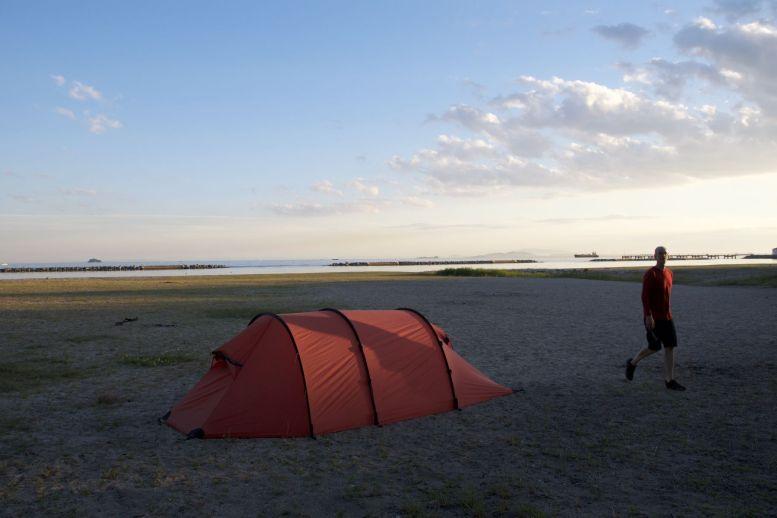 Fukodomari campsite, voorbij Himeji: gratis, het uitzicht: onbetaalbaar.
