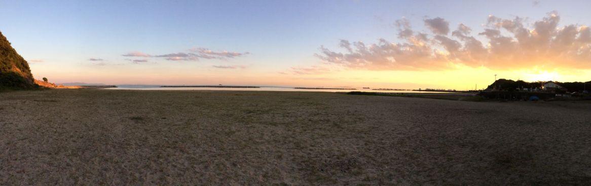 En nog maar een panorama, nu met zonsondergang.
