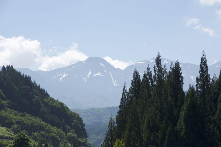 Veel groen en bergen met sneeuw, het thema van de Japanse Alpen
