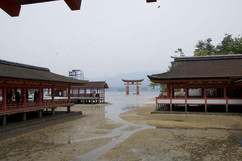 De schrijn met daarachter de torii in zee.