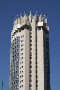 Hotel Kazakhstan is een protserig maar toch ook intrigerend gebouw, en lekker hoog en herkenbaar wat het een handig punt is om je richting op te bepalen.