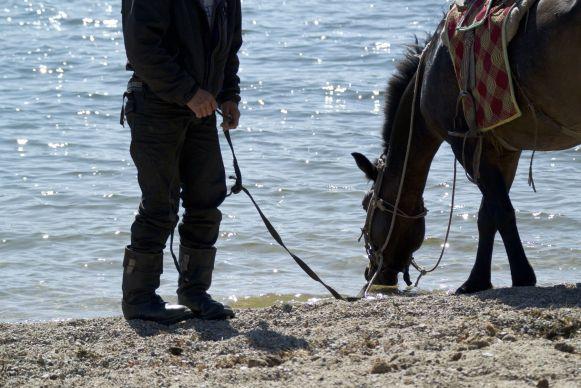 Als we na Lu's zwemmen nog even zitten komt een herder zijn paard laten drinken. Hij drint zelf dankbaar wat uit de bidon van Nicolas.