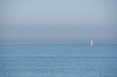 Blauw met blauw met een bootje