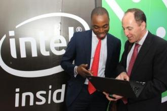 Tobi Oke, Investment Director at Intel Capital with Danie Steyn GM Intel East Africa at the Intel SSG Launch Strathmore juuchini