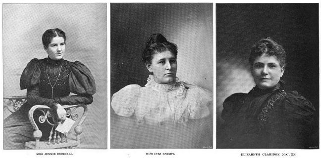 Jennie Brimhall (l), Inez Knight (c), and Elizabeth McCune (r), from The Young Woman's Journal, 1898 June and July