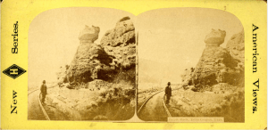 A stereoscope of Pulpit Rock, Echo Canyon, Utah, from the 1870s. From Utah State University Library's website.