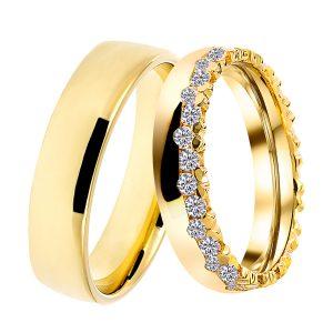 DOOSTI Partnerring CROWN 925/- Silber und 3 Mikron vergoldet