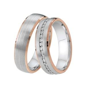 DOOSTI Partnerring LINE Bicolor 925/- Silber