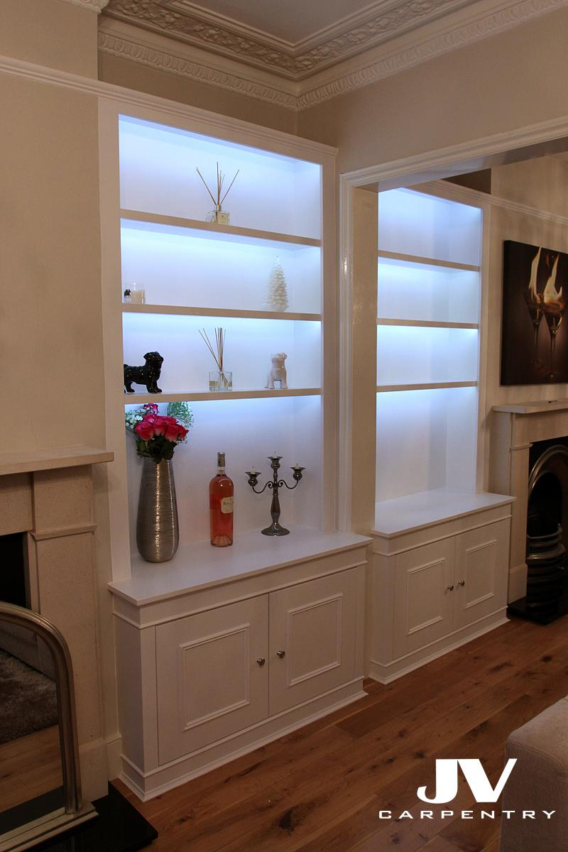 Fitted Alcove Cupboards, Bookshelves and Bookcases | JV ... on Shelf Sconces For Living Rooms Contemporary id=76584
