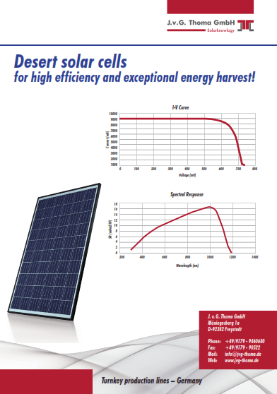 Data sheet DESERT solar cells download