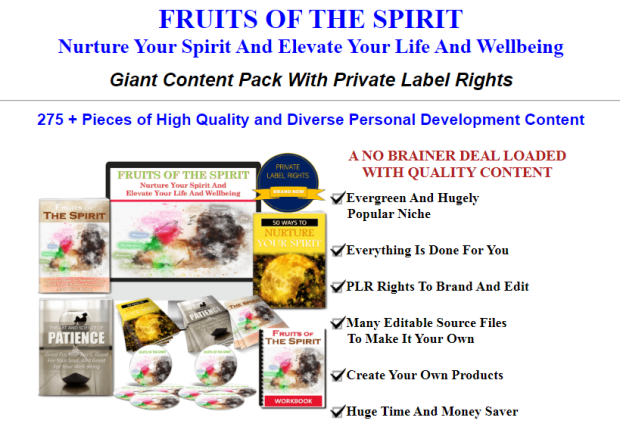 Fruits Of The Spirit PLR Pack & OTO Upsell by JR Lang
