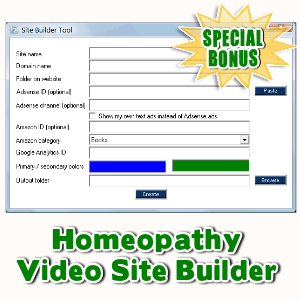 Special Bonuses - December 2016 - Homeopathy Video Site Builder