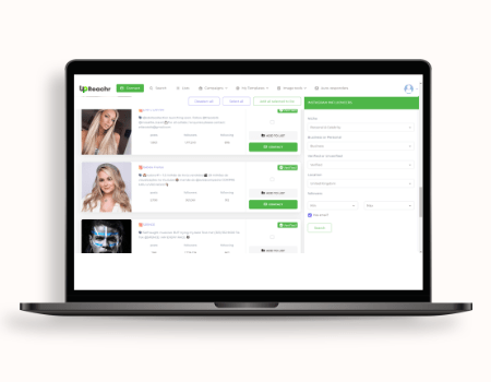 Upreachr Features - Advanced filters such as bio description, profile type, # of followers, engagement rate, geo locations, budget and more built in to let you get the best influencers for your budget, niche & engagement.