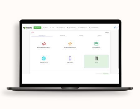 Upreachr Features - Choose from a variety of goals to promote, website traffic, promote product, service, event or app, Upreachr will recommend the best influencers for you.