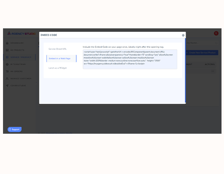 Agency Studio Features - Embed Code / Widget Code to add your service to ANY website