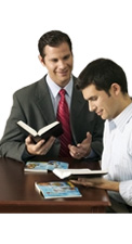 Two men studying the Bible