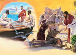 1. Jesus preaching; 2. Jesus healing people