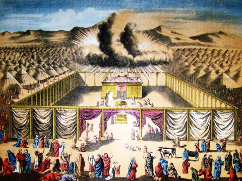 an antique drawing of a great cloud hovering over the mishkan with israelites worshipping