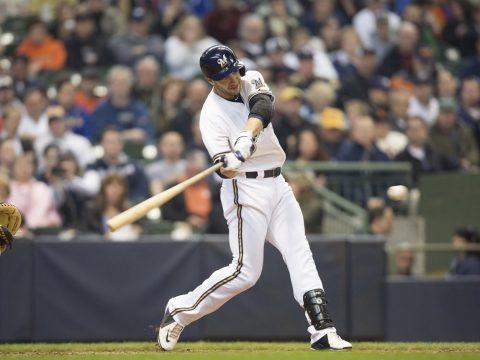 Braun swings a bat
