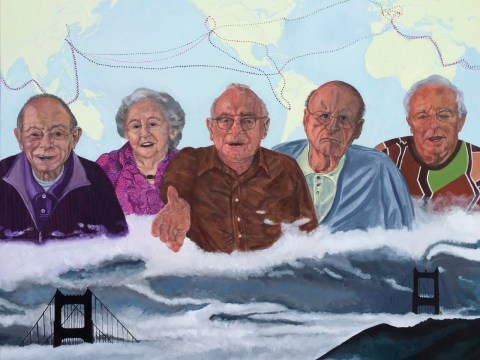 in the painting, a row of five founders hover above a scene of fog and the golden gate bridge. behind them is a world map with lines in different colors traced on it.