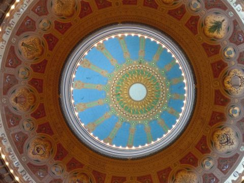 Looking up at the dome of Congregation Sherith Israel in San Francisco. (Photo/file)