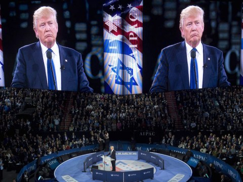 Then-candidate Donald Trump speaking at the AIPAC 2016 Policy Conference in Washington, D.C., March 2016. (Photo/JTA-Getty Images-AFP-Saul Loeb)