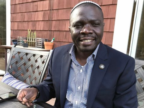 Rabbi Gershom Sizomu, member of the Ugandan parliament and first ordained rabbi of the Abayudaya Jewish community of Uganda, on a recent trip to Marin (Photo/Sue Fishkoff)